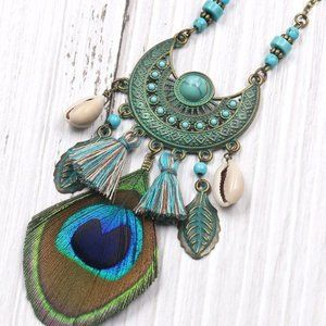 Jewelry - Ethnic Tassel Peacock Feather Bohemian Necklace